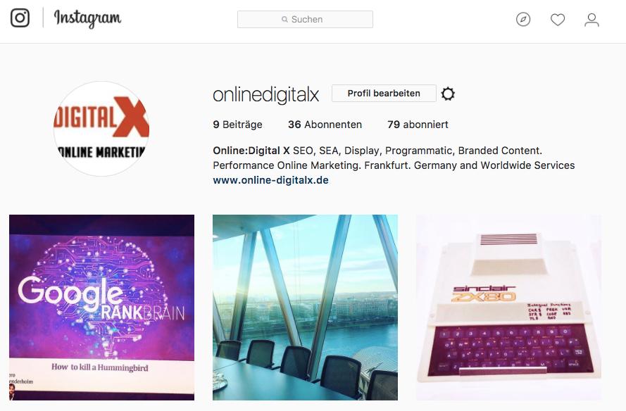 Online:Digital X Channel auf Instagram